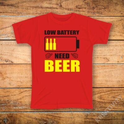 Low battery feliratos póló